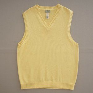 LL Bean Mens Sweater Vest Knit Cotton Yellow Med